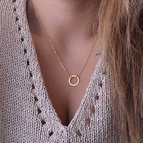 Ushiny Collares de moda con forma de círculo, collar de oro abierto, collar de pandante, cadena ajustable, joyería para mujeres y niñas