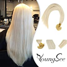 Youngsee 24inch Utip Hair Extensions Blonde Fusion Human Hair Extensions #60 White Blonde Nail Tip Remy Human Hair Extensions 50Strands/50pack