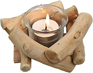 Sziqiqi Lovely Handmade Wooden Tealight Candle Holder for Gifts Crafts Ornament Home Furnishing Candle Holder Stand Wedding Supplies (Candle Holder 1#)