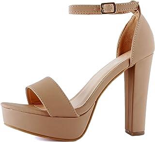 edcc5e6c31de99 Guilty Shoes Womens Platform Ankle Strap High Heel - Open Toe Sandal Pump -  Formal Party