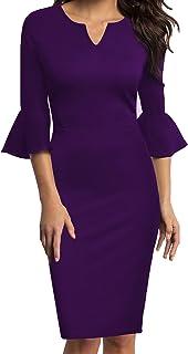 d0df50e45b WOOSUNZE Womens Flounce Bell Sleeve Office Work Casual Pencil Dress