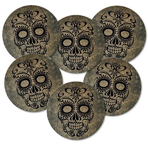 Addies Lot de 6 dessous-de-verre ronds Motif tête de mort avec coffret cadeau et dos en liège