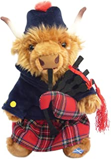 Highland Cow Tartan Piper soft toy 12