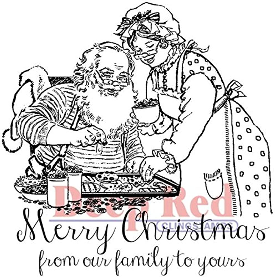 Deep Red Stamps Claus Family Christmas Rubber Stamp