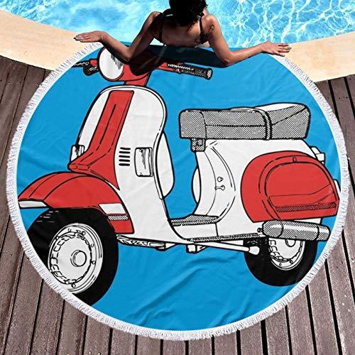 Scooter motocicleta retro impreso redondo toalla de playa yoga picnic Mat mantel redondo ultra suave súper absorbente de agua toalla de rizo con borlas