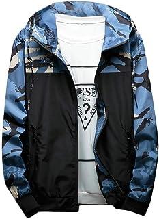 RkBaoye Men's Windbreaker Camo Splice Hooded Zipper Spring/Fall Jackets