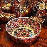 KEKEYANG Ronda antigua fábrica directamente el arte pintado a mano de cerámica contador encimera baño sumideros de lavado de cerámica cuenca One_Set Porcelana