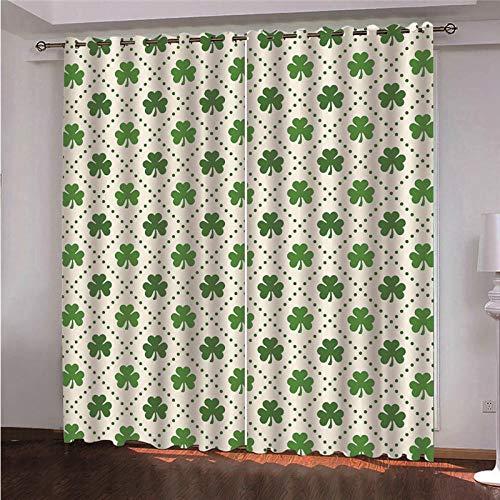 DOORWD Tenda Oscurante Termica Isolante con Occhielli Tende Foglie Stampate Verdi 2 Pannello per Finestre Soggiorno Interni 150 cm x 166 cm