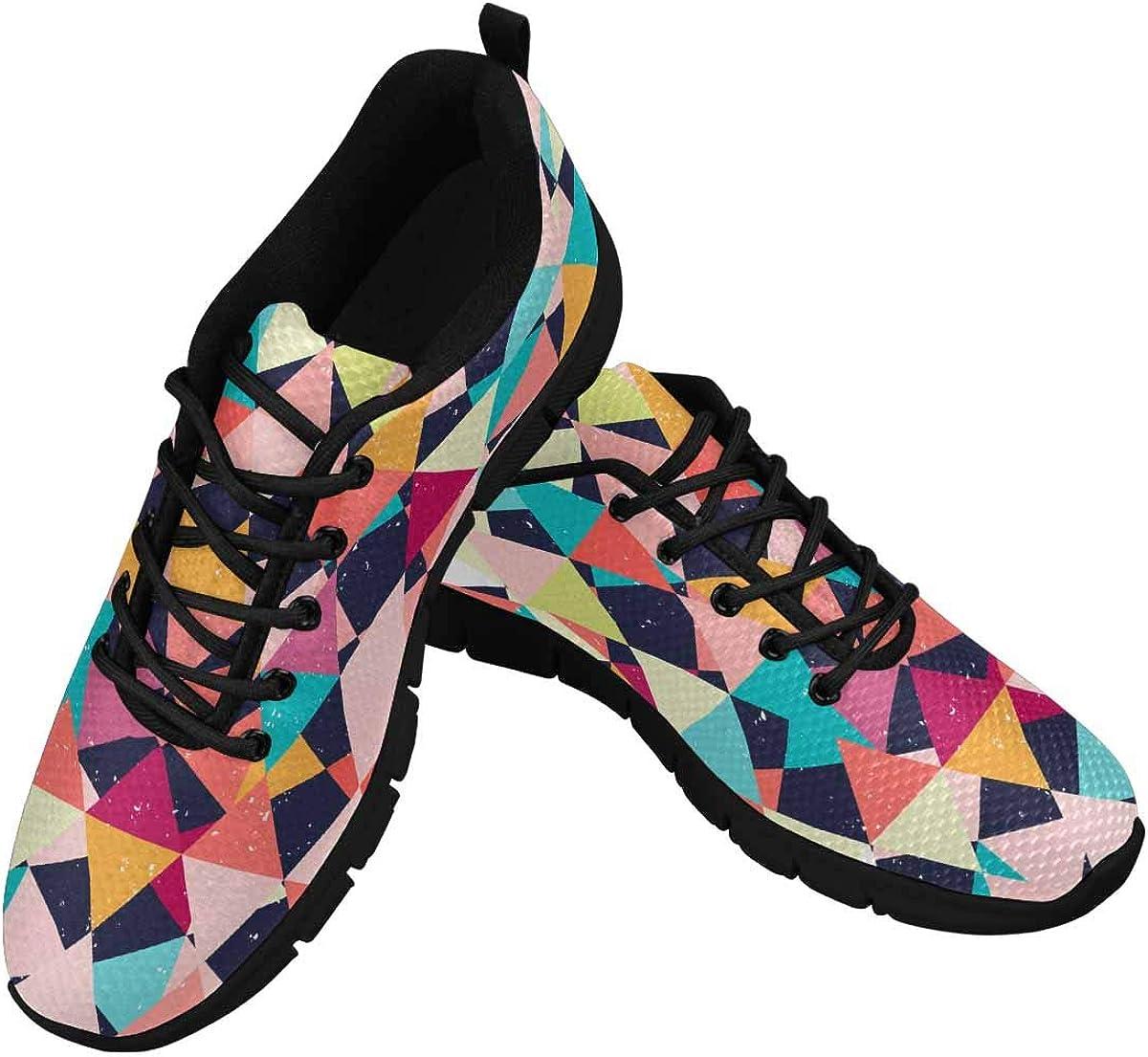 InterestPrint Mosaic Pattern Women's Athletic Walking Shoes Comfort Mesh Non Slip