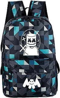 USAMYNA School Backpack 3 Ensembles pour Enfants Marshmello Jeune 17 Pouce Cartable Mode Sac D/école Pratique Convient Aux Adolescents et Aux /Étudiants Bleu Noir