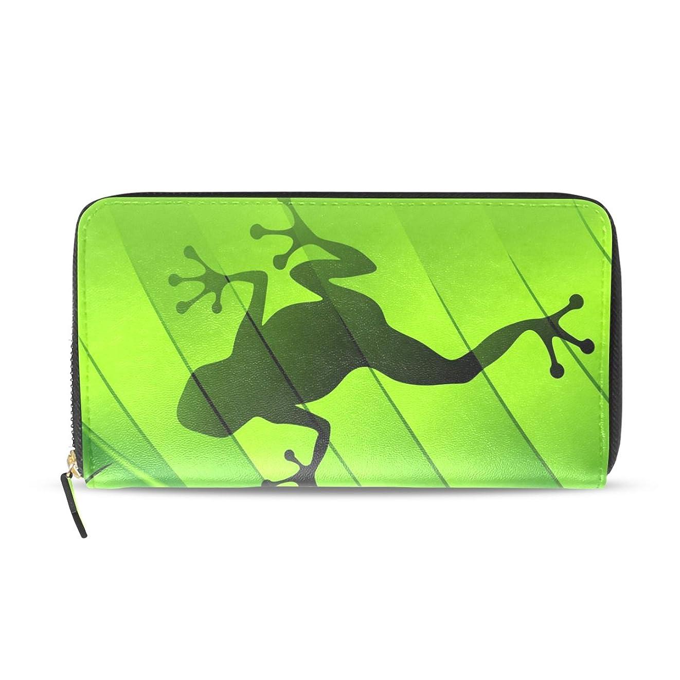 一晩見落とすピッチャーユサキ(USAKI) 長財布 レディース 大容量 ラウンドファスナー 革 おしゃれ コインケース 誕生日 プレゼント カエル柄 かわいい 緑 グリーン