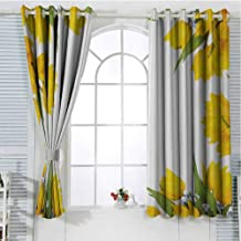 Mozenou Yellow Flower Grommets Curtain Decoration Abstract Frame Yellow Tulip and Blue Forget Me Knot Blooms Bouquets Keep Warm Draperies Wide Blackout Curtains 55