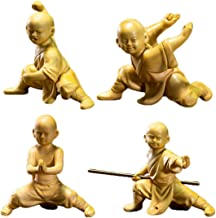 Natural Boxwood Carved Shaolin Kung Fu Young Monk Statue Sets