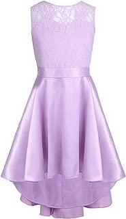 Kids Girl's High-Low Hem Princess V Back Lace Wedding Pageant Party Flower Girl Dress