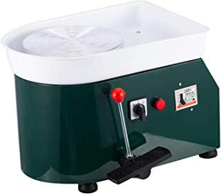 Cozyel Pottery Wheel 25cm Pottery Forming Machine 110V 250W Electric Pottery Wheel DIY Clay Tool with Tray for Ceramic Work Ceramics Clay (Green)