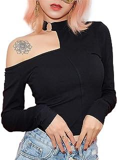 [YEMOCILE] Tシャツ レディース 長袖 無地 肩出し セクシー スリム きれいめ 金属 不規則な 柔らか ダンス