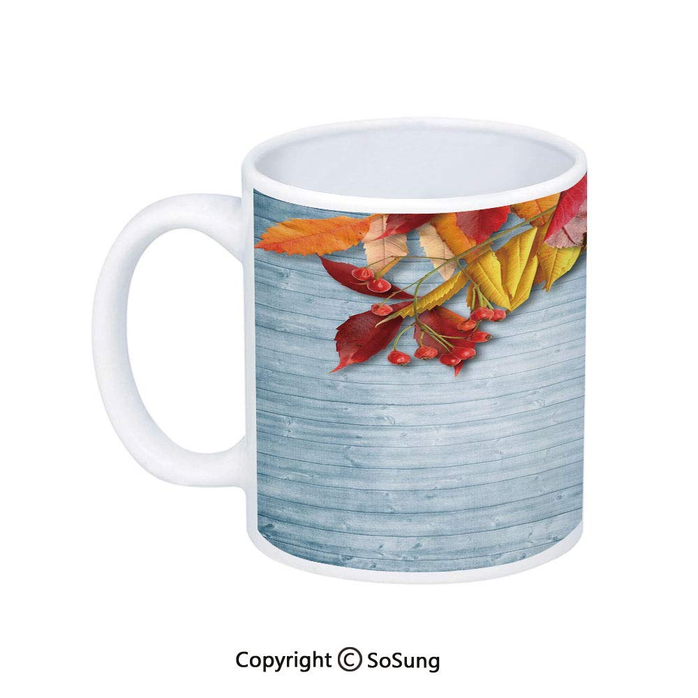 Amazon.com: Rowan Coffee Mug,Vintage Autumn Composition with Dried