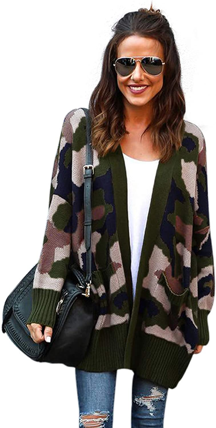 BlackThings Long Sleeve Cardigan Sweaters Camouflage Casual Pocket Sweater