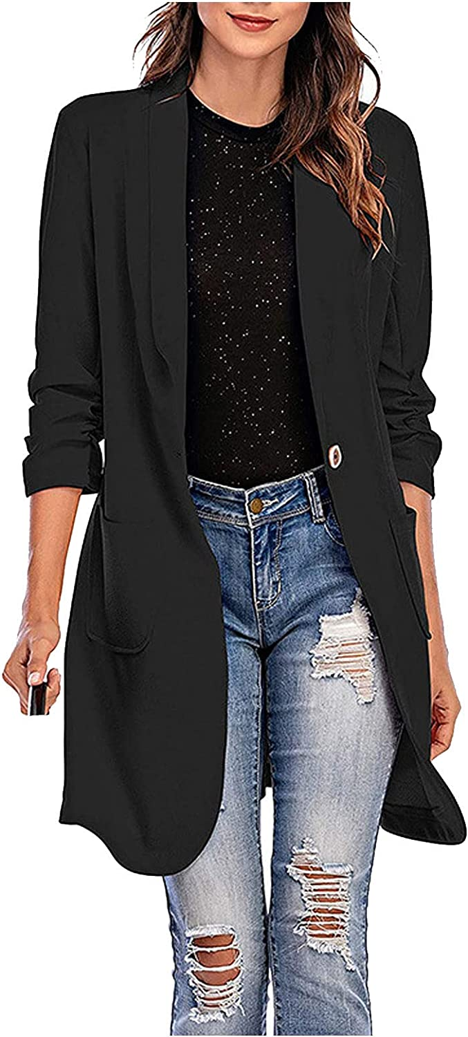 Xinantime Women's Lapel Long Coat Pure Color A Button Blazer Loose Long Sleeve Trench Jacket Ladies with Pocket
