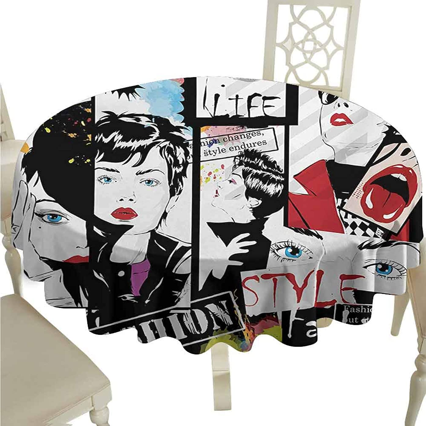 duommhome Teen Girls Waterproof Tablecloth Fashion Girl in Sketch-Style Illustration Glamour Modern Model Portrait Art Print Easy Care D51 Red Black