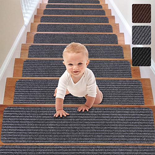 RIOLAND Stair Treads Carpet Non-Slip Indoor Stair Runners for Wooden Steps, Stair Rugs for Kids and Dogs, Set of 15, 8