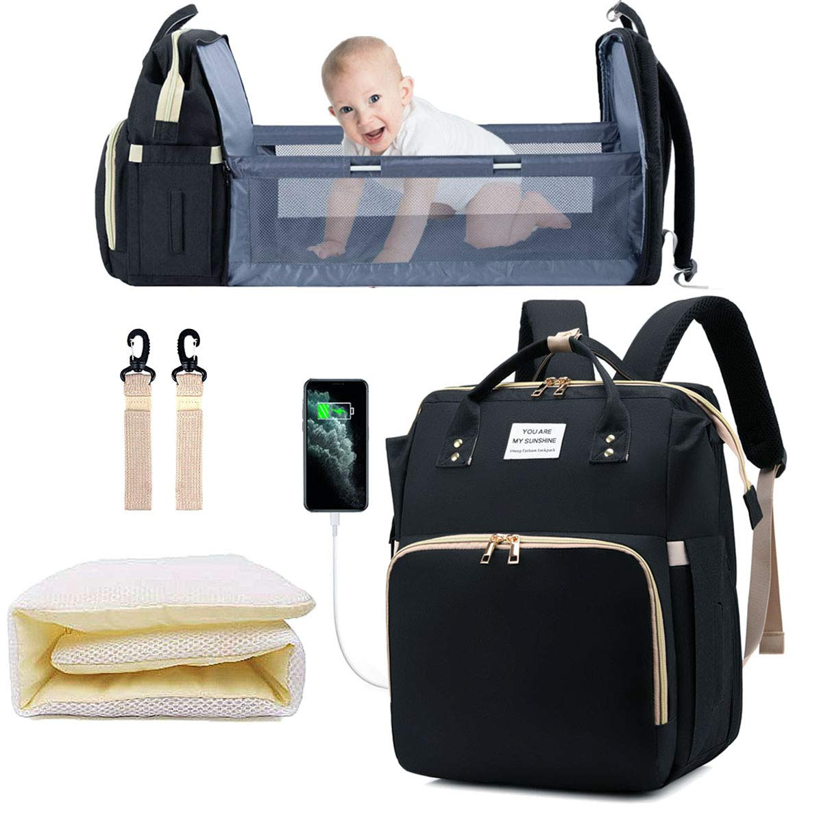 Diaper Bag with Changing Station, Baby Bag, Diaper Bag Backpack, Baby Bag with Built-in USB Charging Port and Stroller Straps Large Capacity Waterproof (Black)