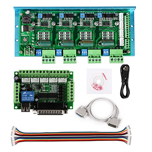 SainSmart CNC Router 4 Axis Kit, TB6600 4 Axis 4.5A Stepper Motor Driver Board, Mach3 5 Axis Breakout Board