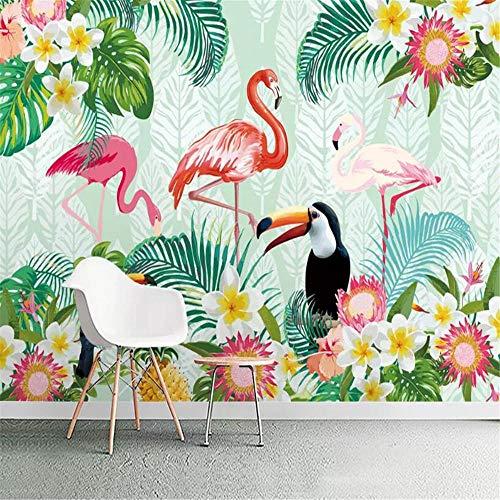 Fotomural Papel Pintado AdesivoMuralepapel Pintado Personalizado Mural Planta Tropical Loro Flamenco Sala De Niños Sala De Estar Fondo Pared Papel Tapiz 3D Tapety-About_150 * 105Cm_2_Stripes
