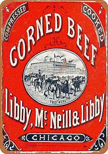 RABEAN Cartel de metal con diseño de carne de res de Corned Corned Beef ideal para pub, cobertizo, bar, oficina, hombre, cueva, hogar, dormitorio, comedor, cocina, regalo