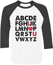 Tstars - Alphabet Valentines Day ABC I Love You 3/4 Sleeve Baseball Jersey Shirt