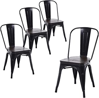 Buschman Set of Four Matte Black Wooden Seat Metal Indoor/Outdoor Stackable Chairs with Back