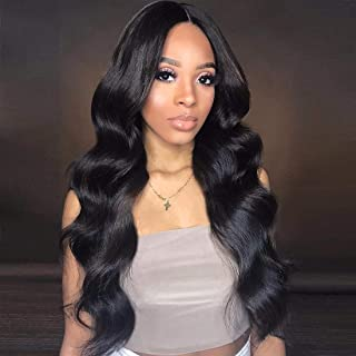 Body Wave Human Hair Wig 4x4 Lace Closure Front Wig Glueless Free Part With Baby Hair 150 Density For African American Women Peruvian Remy Human Hair For Black Women 24 Inch