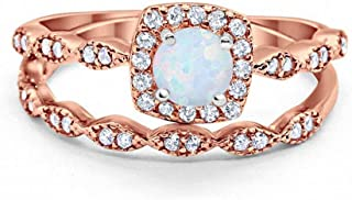 Blue Apple Co. Art Deco Bridal Set Ring Band Halo Two Tone 925 Sterling Silver Choose Color