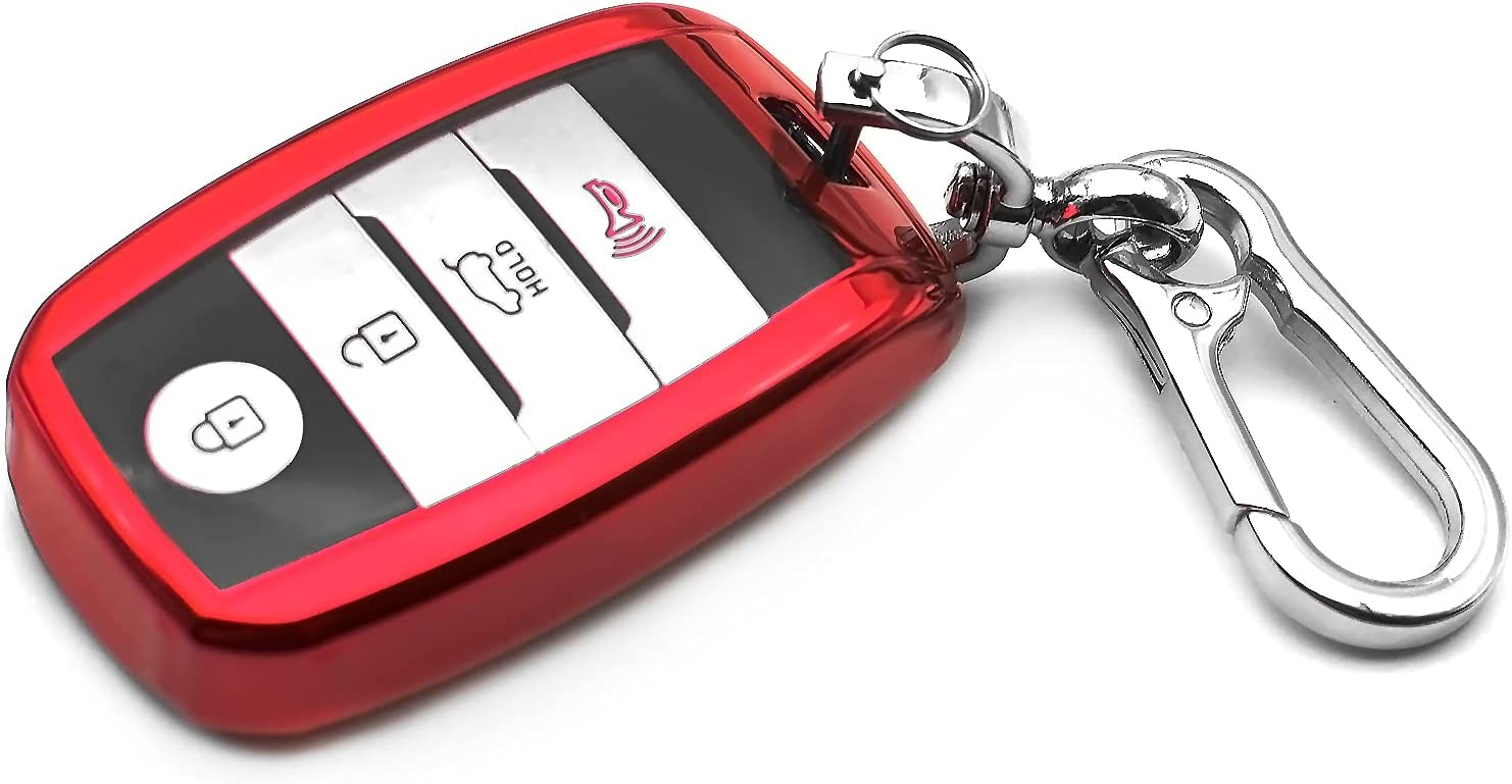 INFIPAR Fit for Kia Forte Optima NIRO Rio Sedona Sorento Soul Sportage TPU Key Fob Remote Cover Case Shell Glove Pouch Holder Protector Keyless Entry Sleeve Accessory, Red, Not Fit Flip Key