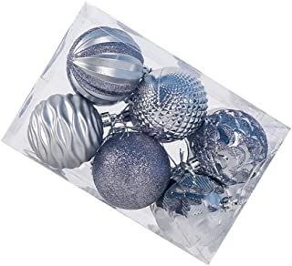 m·kvfa 12PCS Christmas Ball Ornaments,Xmas Tree 6cm Ball Bauble Hanging Ornament Decor for Holiday Wedding Party Decoration (Gray)