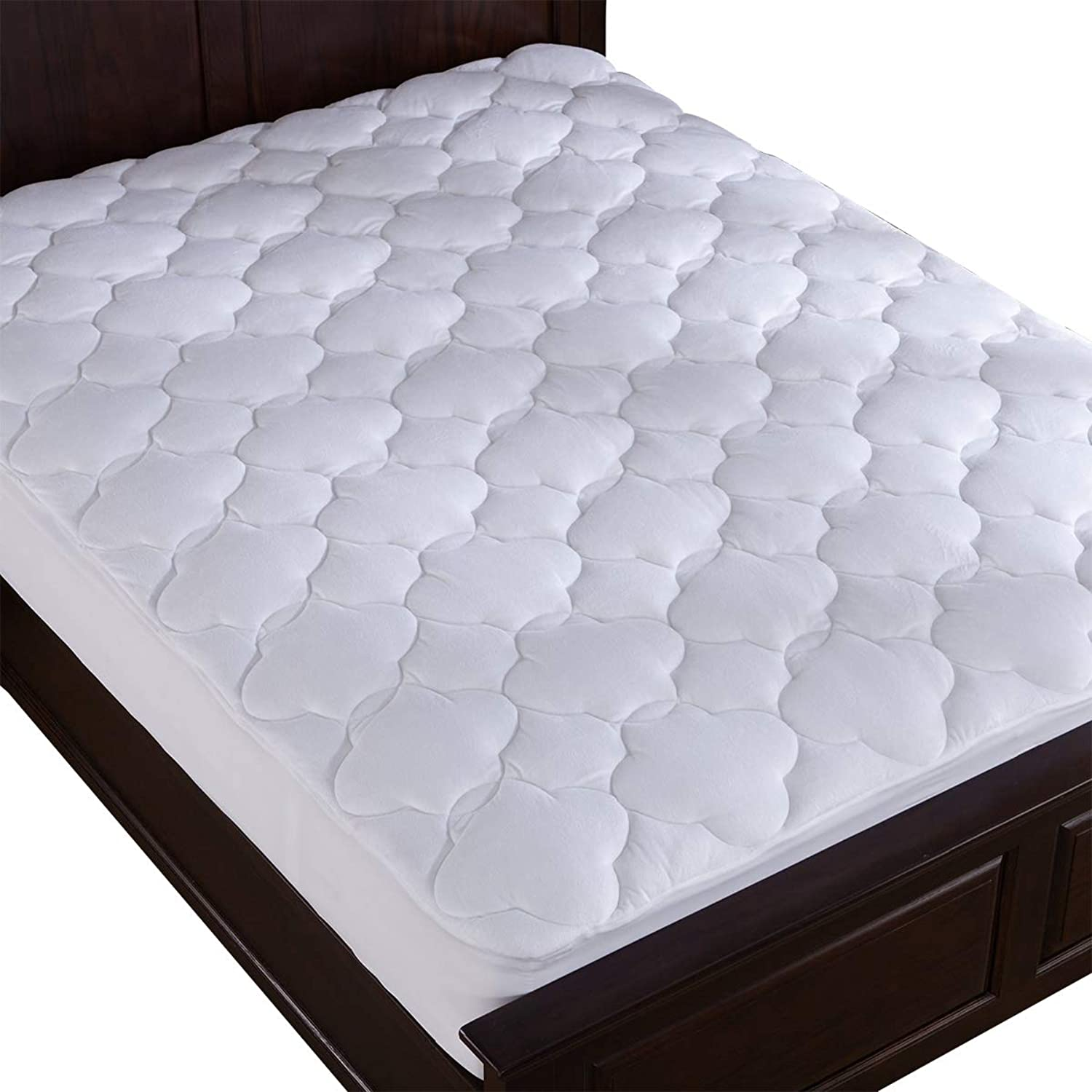 Puredown Down Alternative Mattress Pad Topper Cloud Quilt Design Microplush Fabric Top White Queen