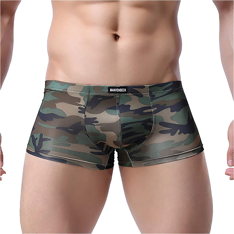 ZCAITIANYA Men's Underwear Boxer Briefs Breathable Camouflage Low Rise Shorts
