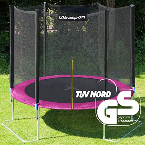 Ultrasport Outdoor Garden Jumper, Trampoline Complete Set with Jumping Sheet, Safety, Padded Net Posts and Frame Cover, Up to 265 lbs (120 kg), Pink, Ø 6 ft (180 cm)