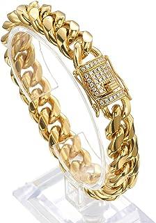 Jxlepe Mens Miami Kuban Link Chain 18K Gold 15mm Gold Stainless Unlimited گردنبند با cz Diamond Chain Choker