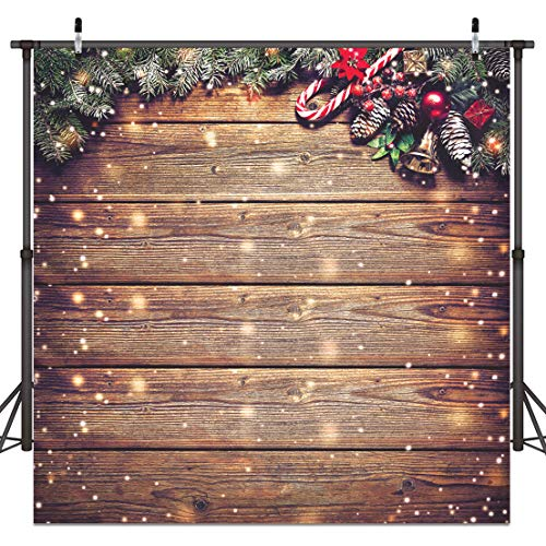10X10FT Christmas Backdrop Snowflake Gold Glitter Christmas Wood Wall Photography Backdrop Xmas Rustic Barn Vintage Wooden Floor Background for Kids Portrait Photo Studio Booth D038
