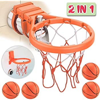 3 in 1 Design Red,Green,Purple With 6 Balls Gift Box /& Mesh Bag,Bathtub Toy Gadget for Boys Girls,Kids,Child Gift,Strong Suction Cup Bath Toy Basketball Hoop /& Balls PlaySet Magic Rope,Smiley Balls