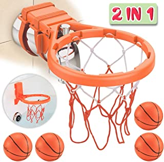 Bath Toy Basketball Hoop Ball Playset(2 in 1 Design), with 4 Balls and Mesh Bag, Bathroom Slam Dunk&Bathtub Shooting Game Gadget, for Kid Boy Girl Toddler Gift, with Strong Suction Cup and Magic Rope
