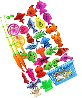 TOYANDONA Magnetic Fishing Toy Plastic Ocean Sea Animals Toddler Bath Toys Water Toys Fishing Game for Kids Toddler