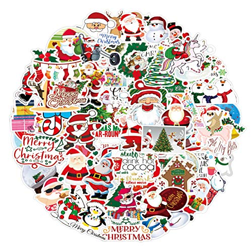 101Pcs Christmas GiftStickers Decals for Envelopes Laptop Water Bottles, Merry Christmas Decorations CartoonSanta Graffiti Stickers for Kids Boys Girls Teens Luggage Computer Hydro Flask Toy