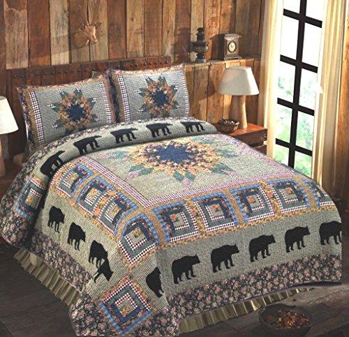 American Hometex Black Bear Forest 3-Piece King Quilt Set, Cabin Medley Lodge Green Plaid