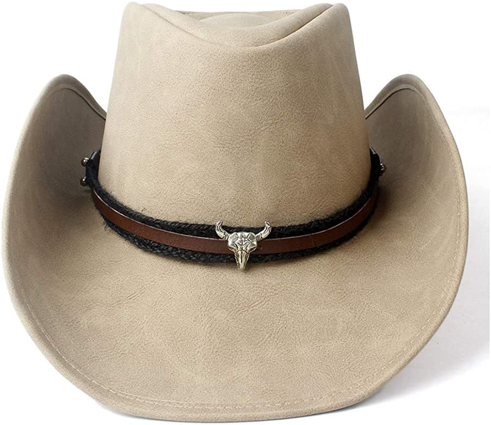 sun hat Women Men Limited time cheap sale Leather Western For Limited time sale Hat Gentleman Cowboy Roll