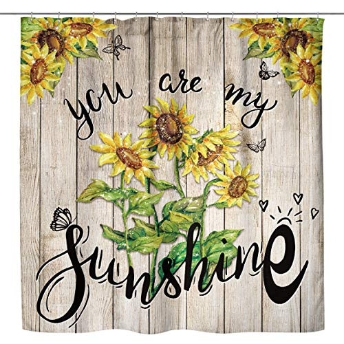 Kewwe Sunflower Wooden Shower Curtain Rustic Farmhouse Floral Spring Blooming 60Wx72H Inch You are My Sunshine Countryside Waterproof Polyester Fabric Bathroom Decorations with 12 Hooks