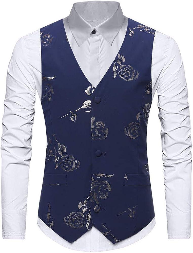 Men's Slim Fit Vest V-Neck Party Dress Suit Stylish Vest Waistcoat