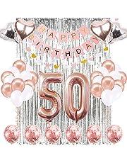 لوازم تزيين عيد الميلاد الخمسين المكونة من 39 قطعة - لافتة عيد ميلاد سعيد، بالونات ذهبية وردية على شكل رقم 50