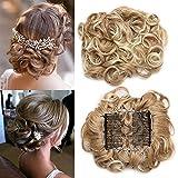 TESS Haarteil Dutt Haargummi Synthetik Haare für Haarknoten Zopf Gummiband Hochsteckfrisuren Haarband Honigblond/Hell-Lichtblond